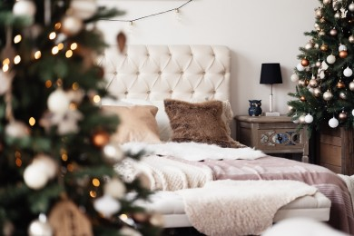 interior of the bedroom decorated for new year and christmas cozy bedroom festive interior